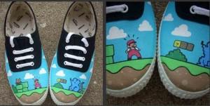 Zapatillas de Super Mario pintadas a mano