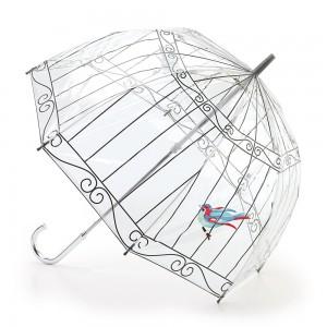 Paraguas transparente jaula con pajarito