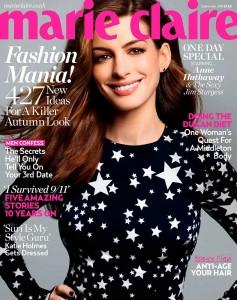Moda de estrellas. Anne Hathaway en la portada de Marie Claire septiembre 2011 de UK